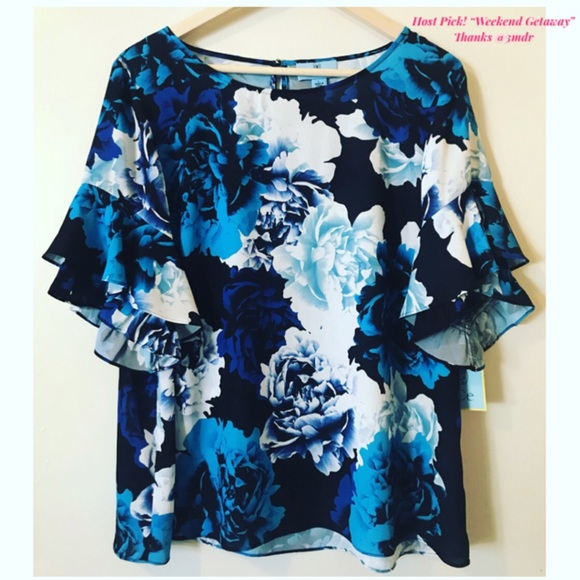 9d75aef27868 CeCe Tops | New Cafe Creme Floral Top Fluttery Sleeves | Poshmark